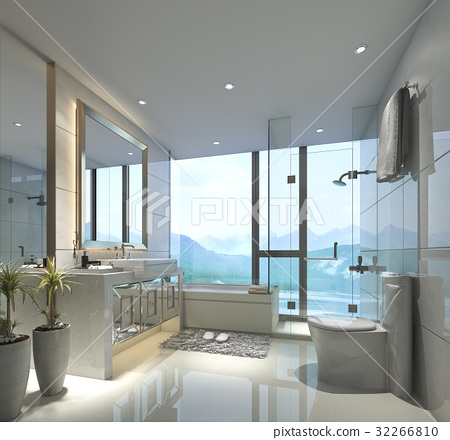 modern bathroom with luxury tile decor nice view 32266810