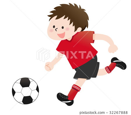 A boy playing football (red) 32267888