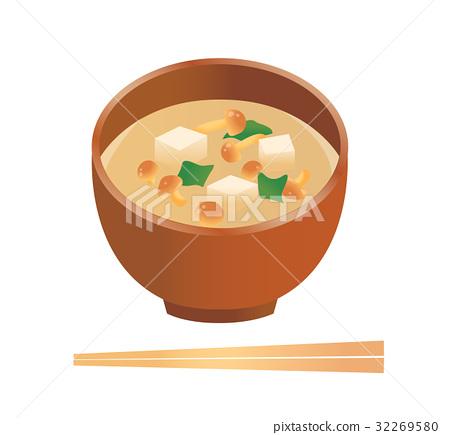 nameko mushroom soup, miso soup, cooked 32269580