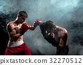 Two professional boxer boxing on black smoky 32270512