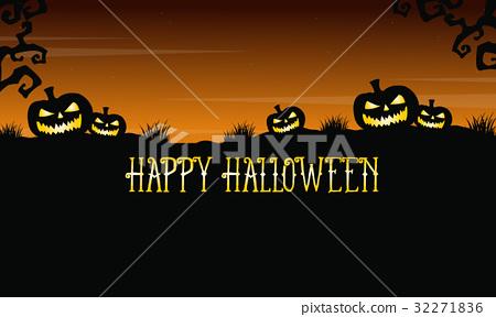Pumpkin on the hill background Halloween 32271836