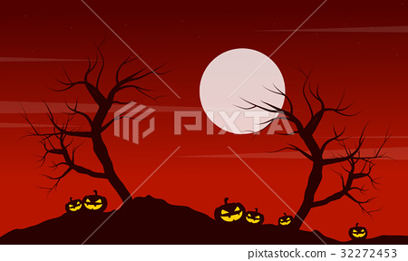 At night landscape Halloween with pumpkin 32272453
