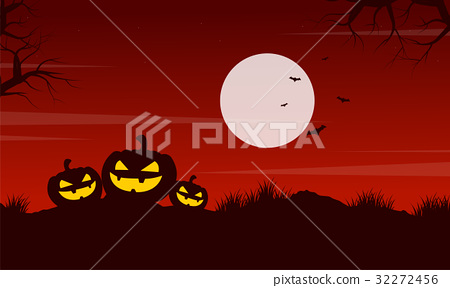 Pumpkin at night Halloween landscape 32272456