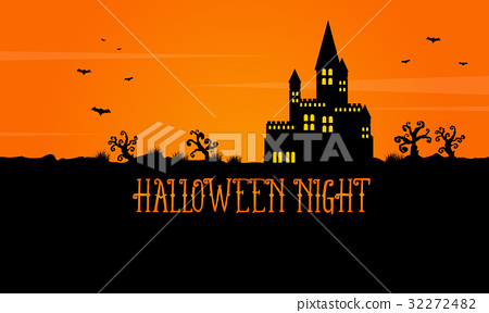 Halloween scary landscape with castle 32272482