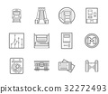 Subway flat line vector icons set 32272493
