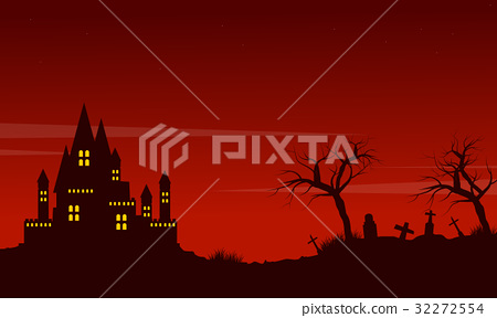 Halloween red background landscape style 32272554