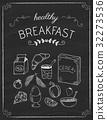 Breakfast doodles on the black board 32273536