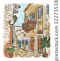 painting, town, mediterranean 32273538