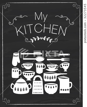 Kitchen tools doodle on the black board 32273545