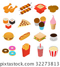 Fast Food Color Icon Set Isometric View. Vector 32273813