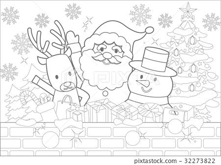 크리스마스 색칠 공부 스톡일러스트 32273822 Pixta
