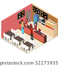 Interior Fast Food Restaurant Isometric View 32273935