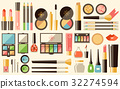 Vector flat cosmetics set. Beauty fashion products 32274594