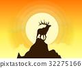 Deer Silhouette Vector Sunset 32275166