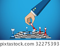 business hand holding chess piece to defeat rival 32275393