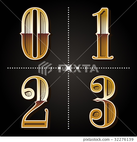 western gradient alphabet letters vintage numbers vector (0,1,2, 32276139