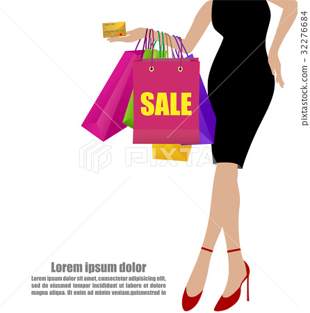 Woman Hand In Dresses Shopping Bags Credit Card 32276684