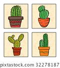 Four cactus in a pot 32278187
