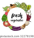 Types of fresh vegetables in the circle 32278198