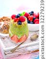 Matcha Tea Chia Seed Pudding with Fresh Berries 32279239