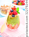 Matcha Tea Chia Seed Pudding with Fresh Berries 32279244