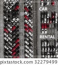 Word Auto Rental over many cars from above. 32279499