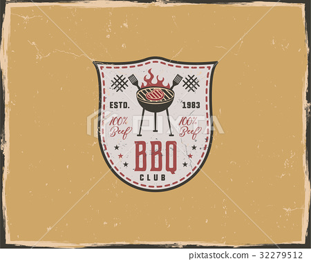 BBQ club typography poster template in retro old 32279512
