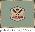 Steak house poster or logo design. Bar and grill 32279513