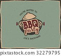 BBQ party typography poster template in retro old 32279795