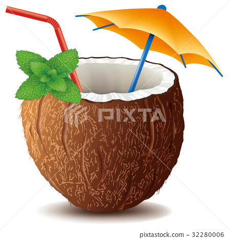coconut drink cocktail with mint leaf 32280006