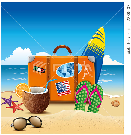 Holiday suitcase with sticker, flip-flops, cocktai 32280007