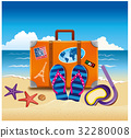 summer illustration, tourist suitcase with sticker 32280008