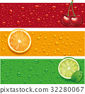 cherry, orange, lime, mint on background with many 32280067