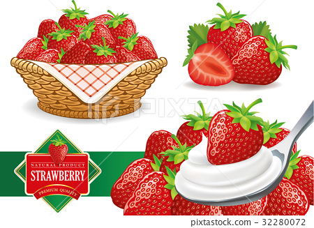 set of different strawberry groups 32280072