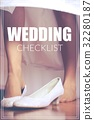 Word Wedding Checklist over shoe of the bride 32280187