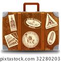 Vintage threadbare suitcase with retro sticker 32280203