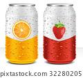 Aluminum tin Cans with orange, strawberry 32280205
