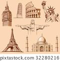 Big Ben London, Eiffel tower Paris, Roma Colloseum 32280216