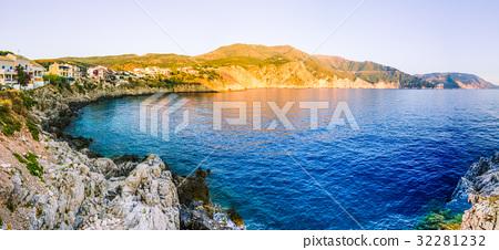 Assos village from cliffs site on evening sunset 32281232
