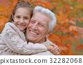 autumn, granddaughter, grandfather 32282068