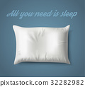 White Pillow on Blue Background with Real Shadow 32282982