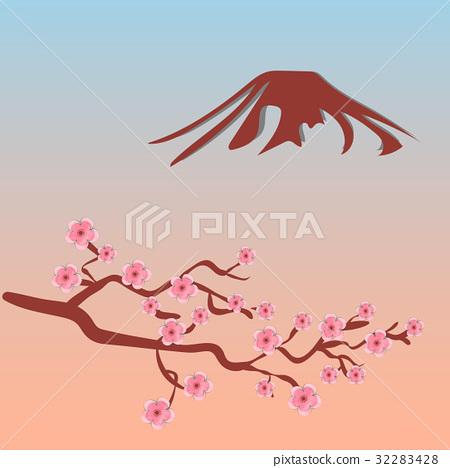 Sakura, and silhouette of Mount Fuji 32283428
