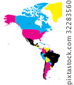 Political map of Americas in CMYK colors 32283560