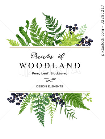 Vector card with a leafy bouquet. 32285217