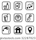 Hotel Services icons  set on white background. 32287023