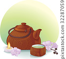 Ceramic Teapot and Orchid Flowers 32287059