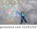 little kid boy flying by a space shuttle chalks 32292202