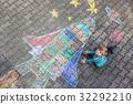 little kid boy flying by a space shuttle chalks 32292210