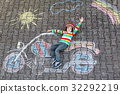 Little child in helmet with motorcycle picture 32292219