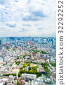 View from above on Tokyo Tower with skyline in 32292252